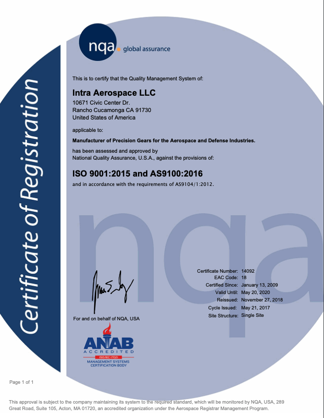 ISO 9001:2015 and AS9100:2016 Certification CERTIFICATION